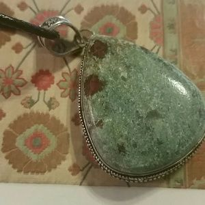 Jewelry - Ruby Fuchsite 925 sterling silver necklace